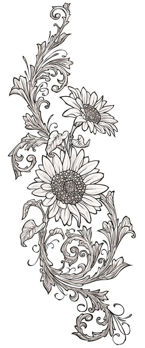 sunflower vine tattoo designs sunflowers used for the wood drawer file cabinet wood