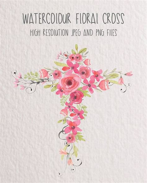Floral Cross by Watercolour Floral Clip Pink Floral Cross Wedding