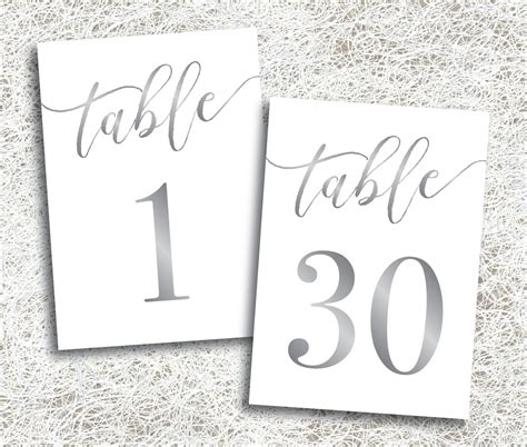 printable silver table numbers 1 30 instant
