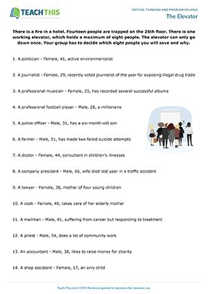 critical thinking problem solving esl activities lessons