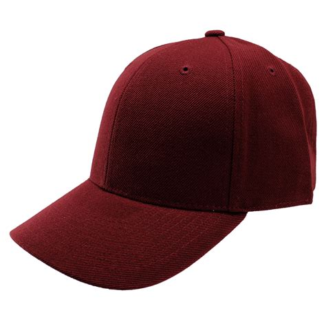 fitted baseball cap hat curved bill visor plain solid