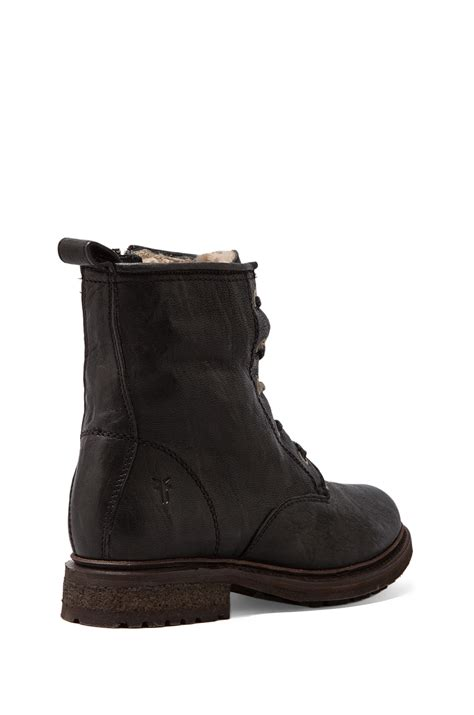 frye valerie shearling boots frye valerie lace up shearling lined boot in black lyst