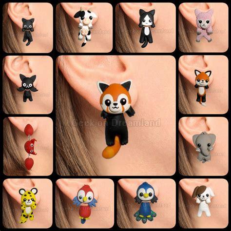 Cute kawaii animals clinging earrings handmade by GeekOnDreamland on DeviantArt