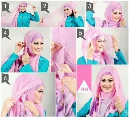 gambar tutorial hijab paris remaja cara memakai jilbab kreasi jilbab paris untuk ke pesta