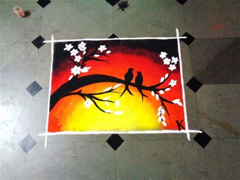 poster design rangoli how to make two birds poster latest rangoli youtube