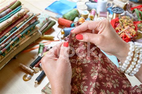 Sewing Patchwork - up of s sewing patchwork stock photos
