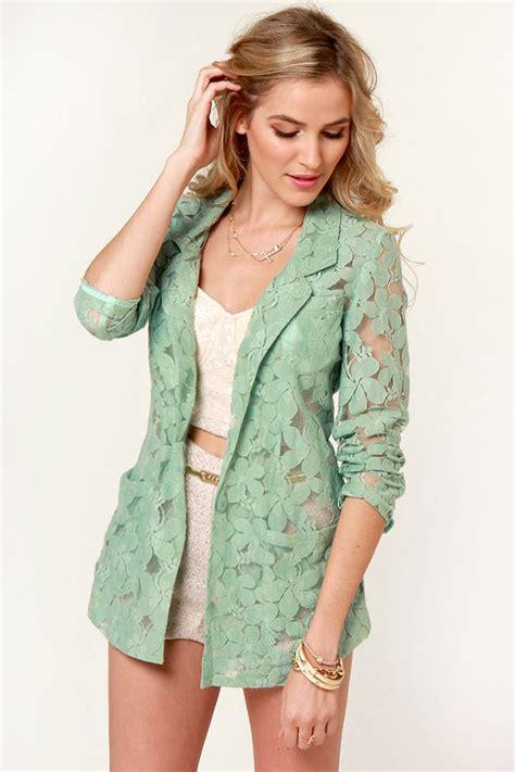 Lace Blazer pretty green blazer lace blazer 62 00