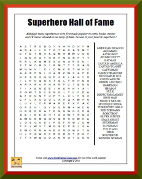 printable word search superheroes superhero hall of fame word search word puzzle hound