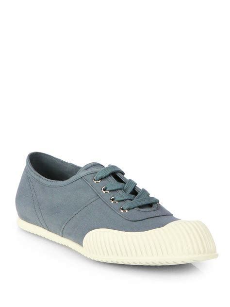 prada canvas laceup sneakers in gray for lyst