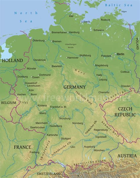 germany geographical map germany physical map