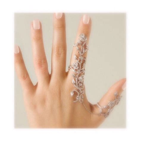 Rhinestone Silver Chain Ring finger linked statement ring finger ring