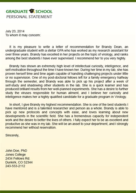 Recommendation Letter Sle For Graduate School Sle Of Reference Letter For Graduate School From Employer Cover Letter Templates
