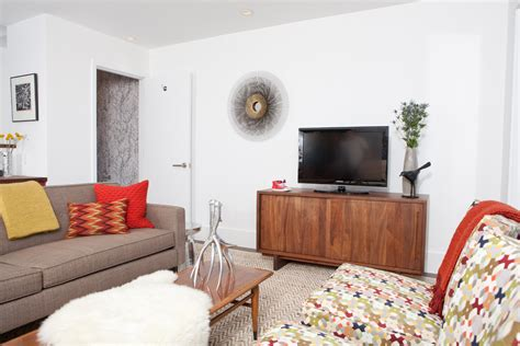 mid century modern media console Living Room Midcentury