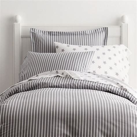 Comforter Company Aiden Percale Gray Striped Kids Duvet Cover Sham Company
