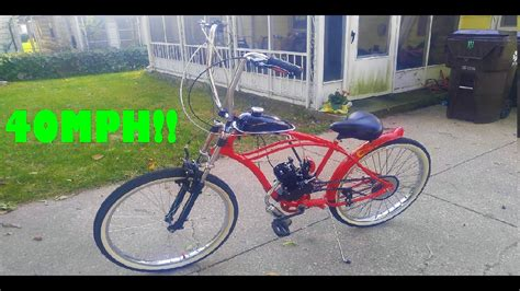80cc Motorized Bicycle Top Speed by Speed Test 40mph On A Bicycle 66cc 80cc 2 Stroke