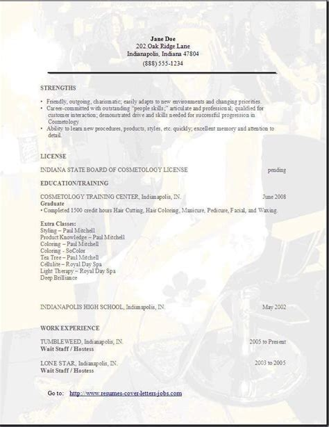 cosmetology resume objective sles cosmetology resume objectives resume sle