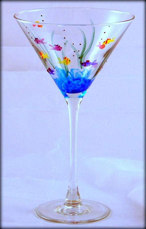 martini glass painting painted fish on martini glass glass paradox