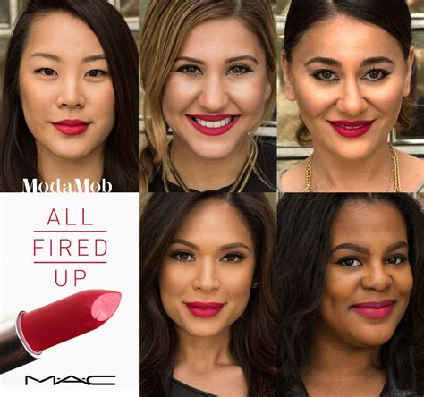 all fired up mac s quot all fired up quot lipstick on different skin tones