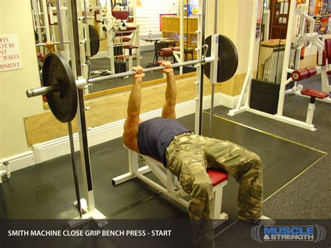 bench press with smith machine smith machine close grip bench press video exercise guide