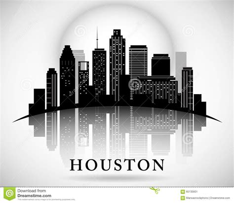 houston texas skyline city silhouette stock vector image