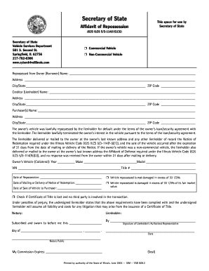 Bill Of Sale Form Illinois Affidavit Of Repossession Templates Fillable Printable Sles Repossession Order Form Template