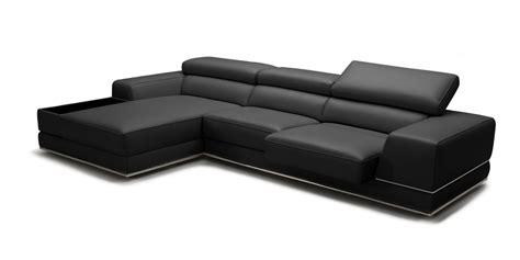 mini leather sectional sofa divani casa chrysanthemum mini modern black leather