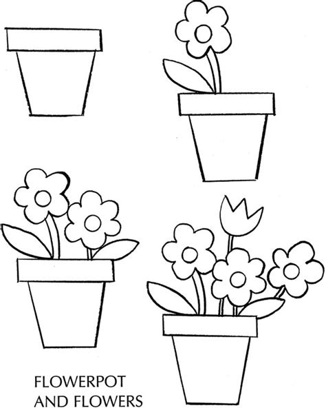 How To Draw A Pot Flowers Spring Free Sle Page Simple Flower Pot Draw Color It