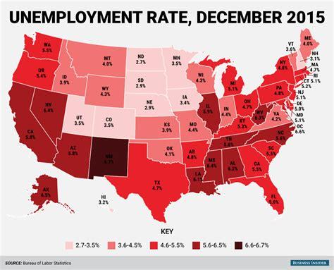 unemployment rate us bureau of labor statistics state unemployment rate map december 2015 business insider