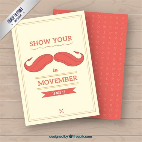 ember card template movember card in retro style vector free