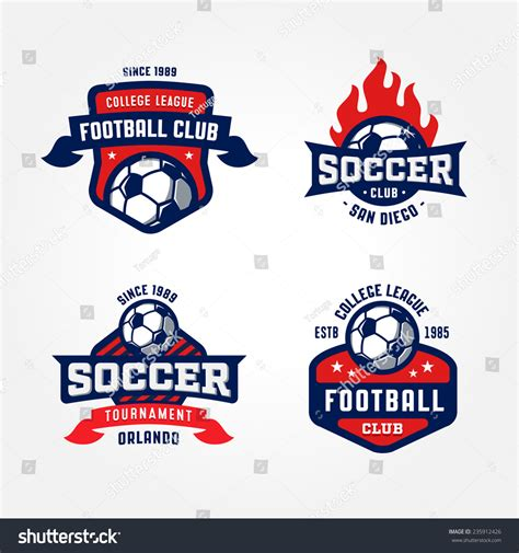 Set Soccer Football Badge Logo Design Stock Vector 235912426 Shutterstock Sports Graphic Design Templates