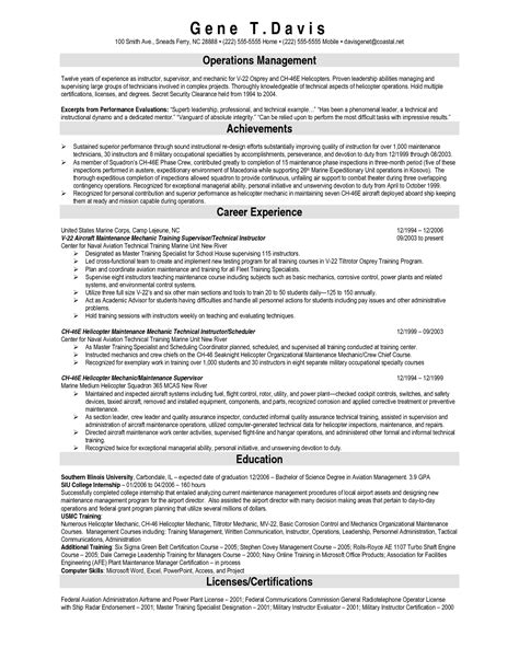 Aviation Technician Sle Resume by Aircraft Mechanic Resume Sle 28 Images Aircraft Technician Resume Exles Pilot 28 Images Best