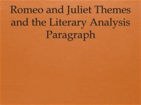 theme sentence romeo and juliet ppt literary elements in romeo and juliet powerpoint