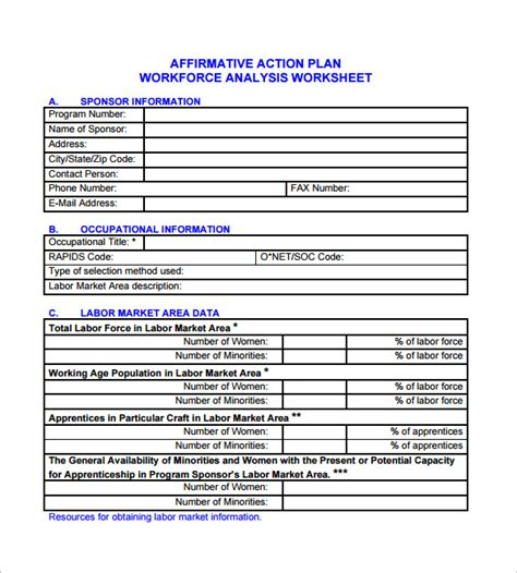 workforce plan template exle affirmative plan template 5 free word excel