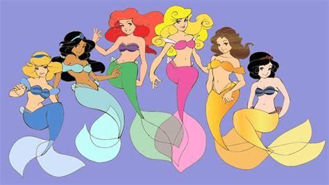 Disney Princess Mermaids By Orbthesela On Deviantart Mermaid Princess Drawings