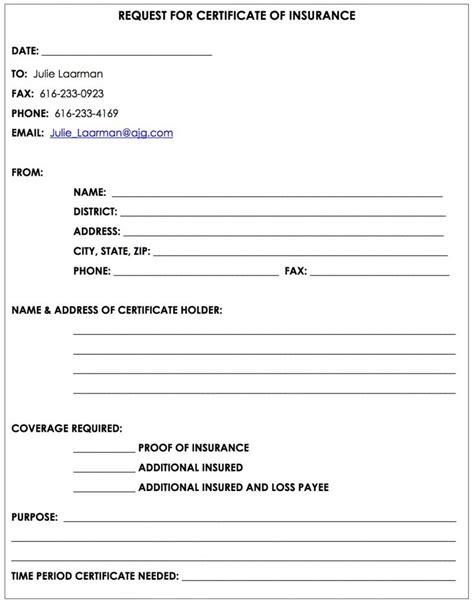 28 certificate of insurance request form template