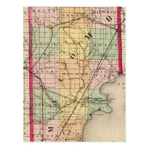 map of macomb county michigan postcard zazzle
