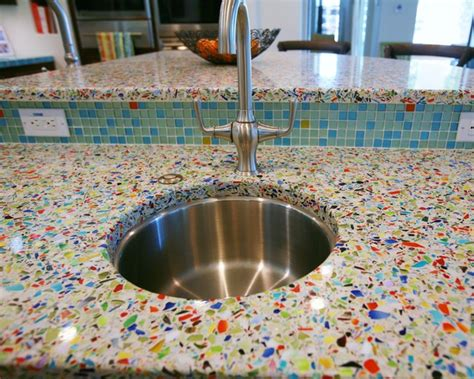 How To Make Recycled Glass Countertops by Vetrazzo Millefiori Recycled Glass Islands