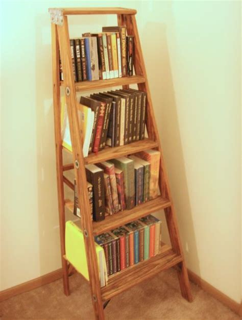 Diy Ladder Bookcase Diy Bookshelf