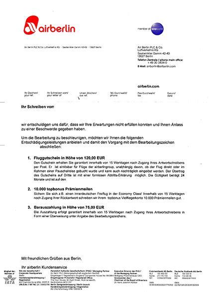 beschwerdebrief muster schadensersatz gep 228 ckverlust schadensersatz nur gegen quittungen fluggastrechte