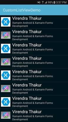 xamarin android listview custom layout creating custom listview in xamarin android app