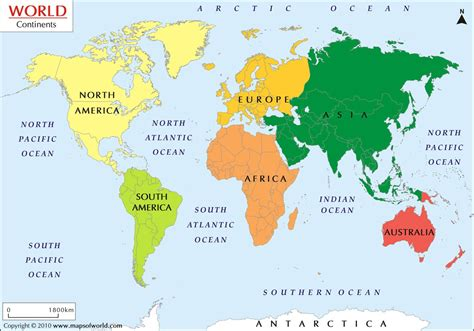continental map what are the 7 continents from to smallest