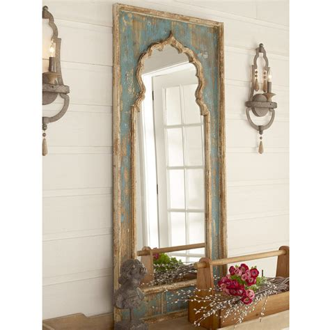 Distressed Farmhouse Floor Mirror For Sale - distressed painted wood mirror shades of light