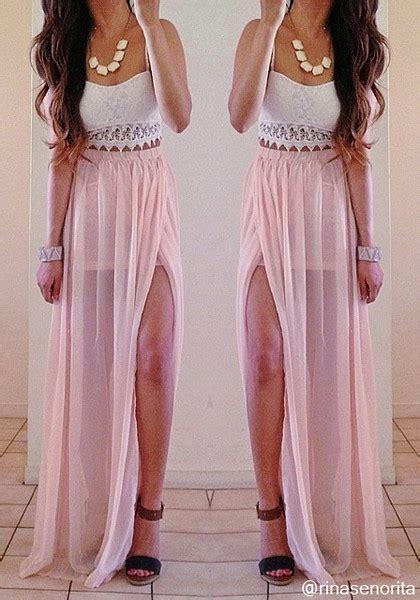 flowy maxi skirt pink
