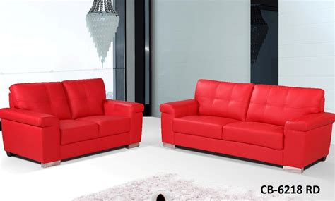 leather sofa red 2 pcs red leather sofa set