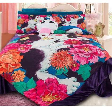 cat bedding sets winter coral fleece cat print bedding set children bedroom