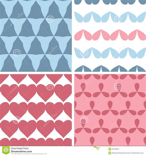 vector pattern matching four matching bold shapes seamless patterns background set