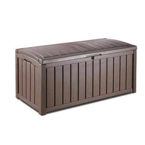 patio box home depot keter glenwood 101 gal deck box in brown 212746 the home depot