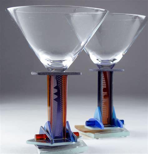 glass barware amber jazz martini by george ponzini art glass stemware