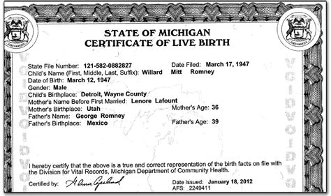Free Birth Records Michigan Mitt Romney Mexican Anchor Baby Releases Birth