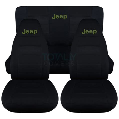 jeep wrangler replacement seat covers jeep wrangler yj tj jk 1987 2017 black seat covers w logo